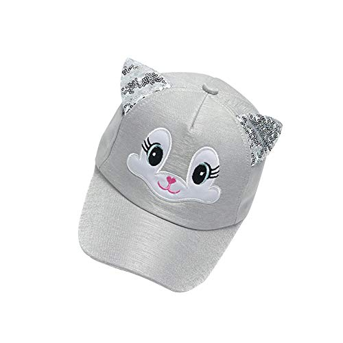 leomoste Kids Girls Boys Cute Cartoon Baseball Cap with Sequin Ears Trucker Hats Adjustable for 1 to 4 Years Grey