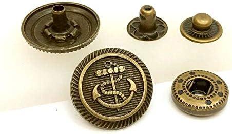 ● 飾りバネホック 23番 アンカー 直径17mm 5個(組)入り 錨 イカリ 真鍮古美