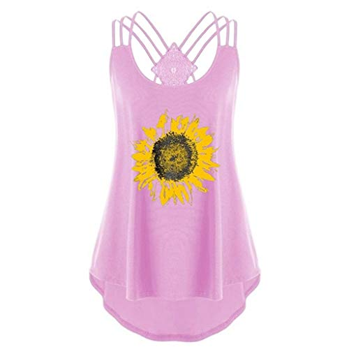 (Women Tank Tops Loose Fit,Sunyastor Summer Plus Size Sexy Embellished Halter Neck T Shirts Blouse Lace Tank Sling Tops (D Pink, 2X-Large))