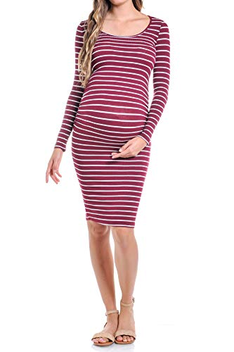 87361584921ab Beachcoco Women's Maternity Long Sleeve Ruched Midi Length Dress (M,  Burgundy Stripe)