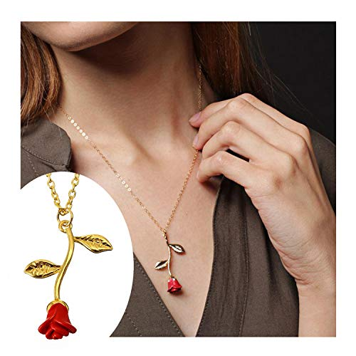 Frodete Delicate Silver Red Rose Flower Pendant Necklace Choker Women's Beauty and Beast Jewelry Lovers Gifts (Gold) (Beauty And The Beast Rose Necklace Gold)