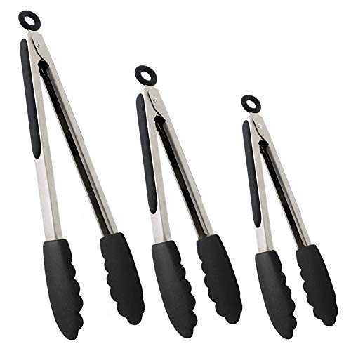 (Set of Kitchen Tongs for Cooking or Grilling: Includes 7, 9 and 12 Inch Stainless Steel, Heat Resistant Locking Tongs with Silicone Tips - Perfect for BBQ, Grill or Household Cooking - 3 Pack, Black)