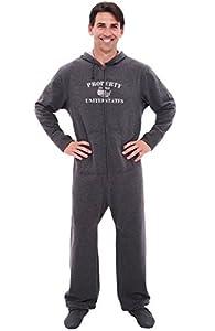 Del Rossa Men's Cotton Onesie, Patriotic Hooded Footed Pajamas