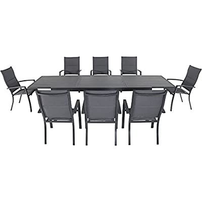 "Naples 9-Piece Outdoor Dining Set with 8 Padded Sling Chairs in Gray and a 40"" x 118"" Expandable Dining Table"