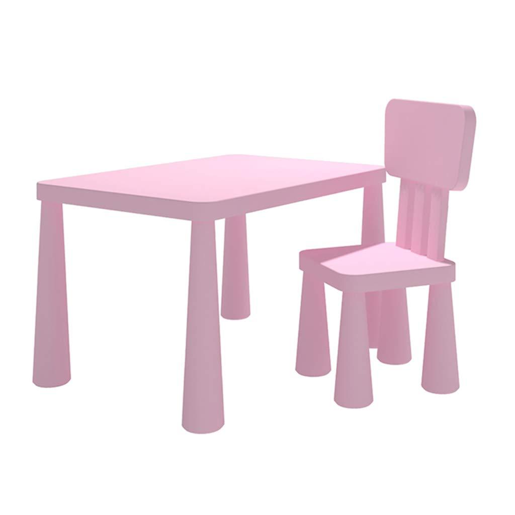 Kinder Tisch und Stuhl Set Haushalt Kinder Holztisch und Stuhl Früherziehung Pädagogische Spielzeug Tisch Kinder Lernspeicher Tisch geben Kinder (Farbe   Rosa, Größe   77  55  48cm) Rosa 775548cm
