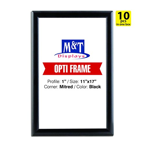 Snap Frame 11x17, 1 Profile, Aluminum, Wall Mounted - Black / 10pcs / Front Loading