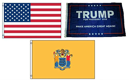 ALBATROS 3 ft x 5 ft Trump #1 with USA American with State of New Jersey Set Flag for Home and Parades, Official Party, All Weather Indoors Outdoors