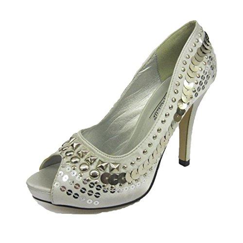 Argent Satiné peep toe chaussures judiciaires avec de grandes paillettes argentées
