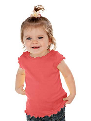 Kavio! Infants Lettuce Edge Scoop Neck Cap Sleeve Top Rose ()