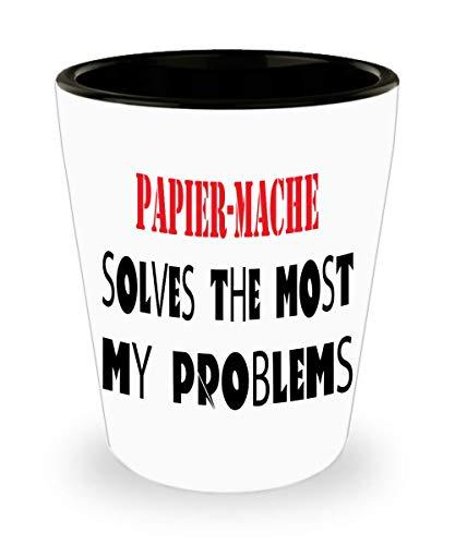 White Ceramic Shot Glass Papier-Mache mug pun mug funny coffee mug gift mug Papier-Macheman hobby mug best for special,al8140]()
