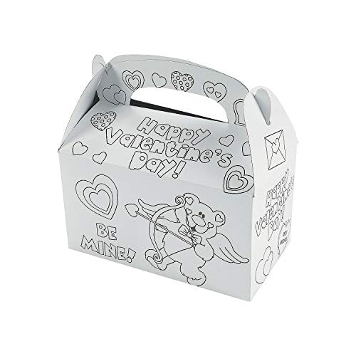 Fun Express Color Your Own Valentine Card Boxes (Set of 12) Kids Valentine's Day Supplies and Craft Activities