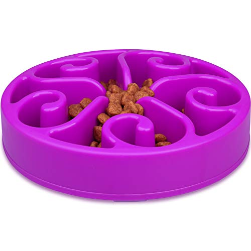 8' Dinner Bowl - wangstar Pet Slow Feeder Bowl, Bloat Stop Dog Puzzle Bowl Maze, Interactive Fun Feeder Slow Bowl with Anti-Skid Design