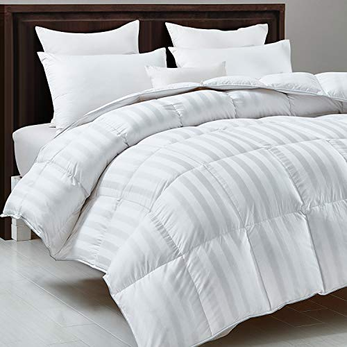 HOMBYS Luxurious White Down Comforter Queen Size Feather All Season Duvet Insert White Classic Stripe Hypo-allergenic 100% Cotton Cover Proof with Corner Tabs(Queen,White Stripe-Down Comforter)