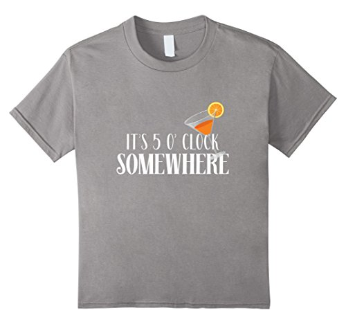 Somewhere Martini T-shirt (Kids It's 5 O'Clock Somewhere Martini Glass Pun Drinking Time Tee 6 Slate)