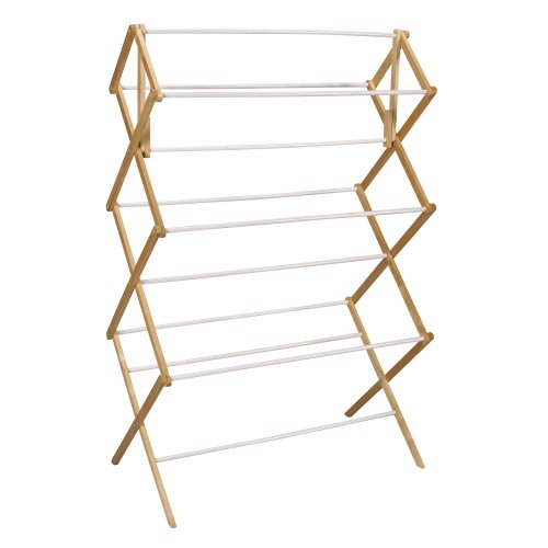 Household Essentials Folding Clothes Drying Rack, Wood Frame with Vinyl Dowels by Household Essentials (Image #1)
