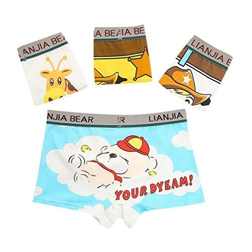 Zerototens 4Pcs Boys Briefs Boxer Toddler Kids Children Cartoon Animal Print Short Pants Elasticated Waist Children Underpants 2-10 Years Old