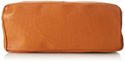 bandoulière la Made in CTM 100 main à dans Italy éclair fermeture sac Orange femme en sac à Cuoio cuir 41x55x12cm véritable FFzntqw41x