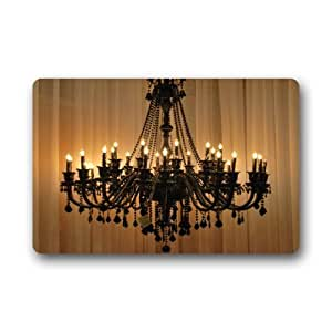 lighted classical Chandeliers non-woven top Doormat,Indoor/Outdoor Floor Mat(23.6 X 15.7 Inch)