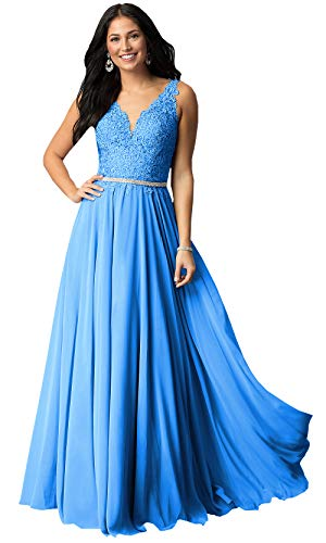 Now and Forever Plus Size A-Line Beaded Lace Evening Prom Dress Long for Women Formal Party Gown (Blue,26W)