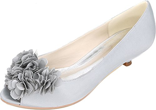 Smart Salabobo Peep Comfort Heel Sandals Ladies 0700 Toe Fashion Dress Work Silver Prom Flower Bridesmaid Party Satin Wedding 01h Bride Low qrtrWxHg