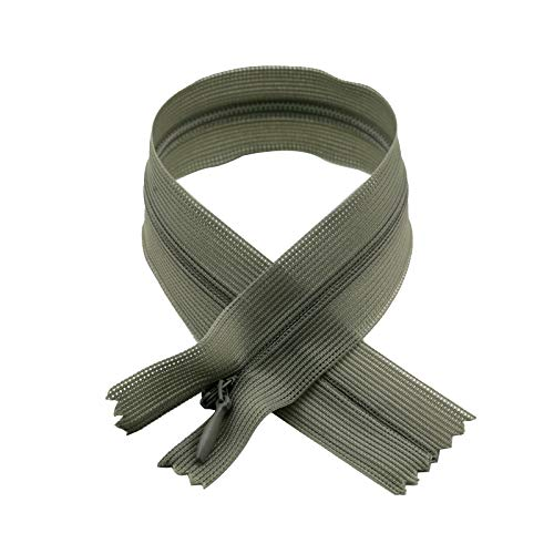 (Invisible Zipper with Tear Drop Slider Lace Tape, 50cm (19.68inches) x 12pc/Bag, Grey)