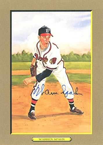 (Warren Spahn Autographed Perez-Steele Great Moments Postcard #14 Milwaukee Braves Beckett BAS #E46821)