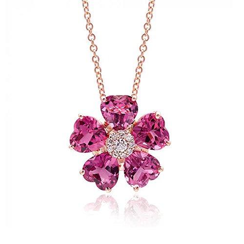 Precious Stars 14K Rose Gold 6.31ct TGW Pink Tourmaline White Diamond Flower Pendant -