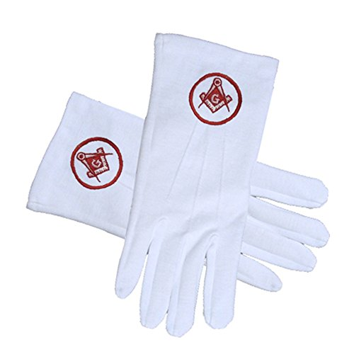 Masonic Standard Red Symbol in Circle - Square and Compass Face Cotton Gloves - White (One Size Fits Most). Masonic Regalia Clothing and Formal Attire (One Size Fits Most)