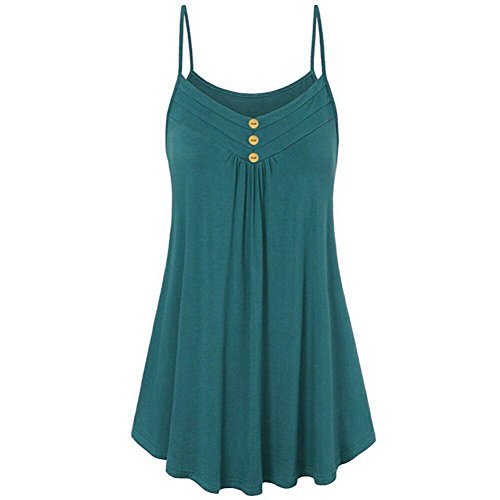 iDWZA Women Summer Loose Button V Neck Cami Tank Tops Solid Vest Blouse(M,Green) ()