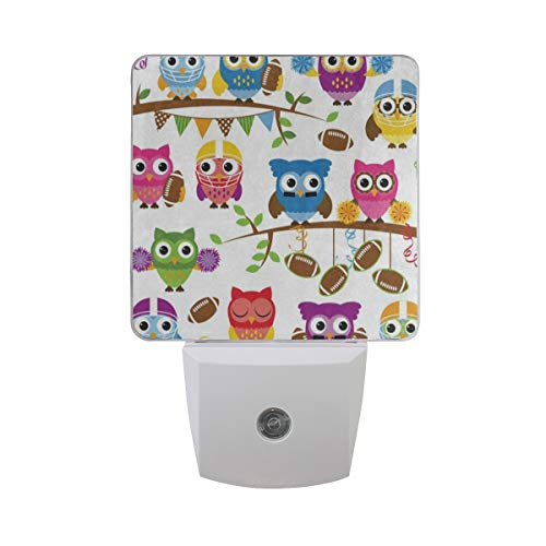 Football Atomic (Warm White LED Plug-in Night Light Football Owl Bird Light Sensor Controlled Dusk to Dawn Nightlights Lamp Take Good Care Children Sleep 2 Pack)