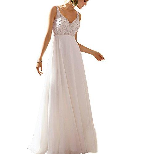 con cuello perlas profundo de lentejuelas Abwedding vestido en mujeres cristal de l novia una gasa V de qqYXO