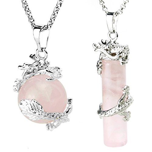 Rose Quartz Dragon (BEADNOVA 2pcs Dragon Wrapped Round Ball Cylinder Natural Rose Quartz Gemstone Necklace Healing Couple Pendant Necklaces Set)