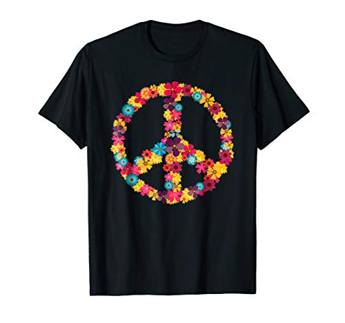 70s 60s Hippie Costume Shirt - 60s Peace Sign -