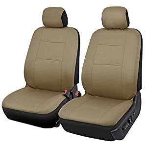 BDK PolyPro Car Seat Covers, Full Set in Solid Beige – Front and Rear Split Bench Protection, Easy to Install, Universal…