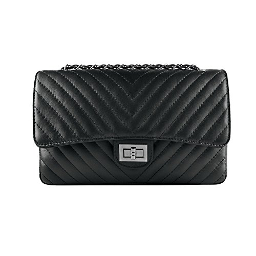 Black purse Dark chevron Nickel cross clutch soft chain smooth leather and Italian quilted quilted shoulder body metal Medium leather SINDY wSHqTT