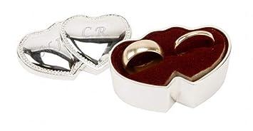 Engraved Double Heart Wedding Ring Box Amazon Co Uk Kitchen Home