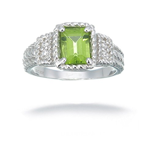 Sterling Silver Peridot Ring 1.10 CT Size 7