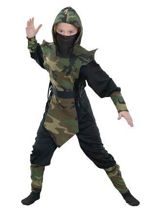 Cammo Ninja Costume Boy - Child Medium -
