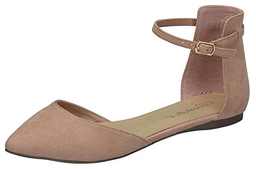 Breckelles Women's d'Orsay Pointy Toe Ankle Strap Buckle Ballet Flat (9 B(M) US, Natural)
