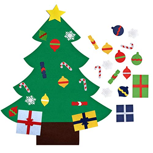 Felt Christmas Tree Set with 30pcs Detachable Ornaments - 3.2ft DIY Wall Deocr Hanging Xmas Gifts for Kids Home Door Christmas Decorations