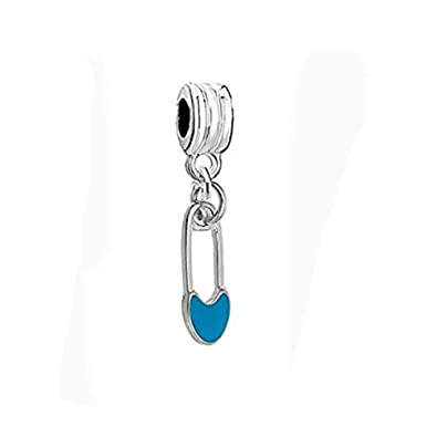 30284ef12 Amazon.com: Baby Shower Blue Safery Pin Charm Spacer Bead Jewelry ...