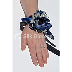 Blue Real Touch Anemone Scottish Tartan Wedding Wrist Corsage 74