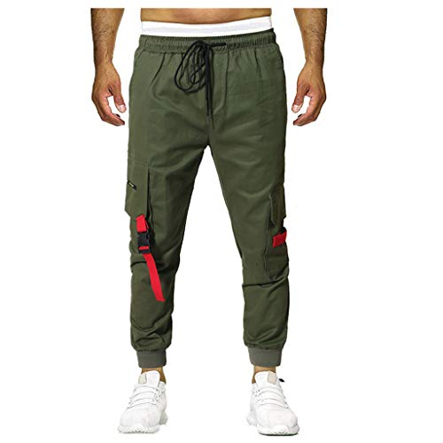 POHOK Trousers for Men Summer New European and American Mens Multi-Pocket Casual Plaid Long Short(3XL,Army Green)