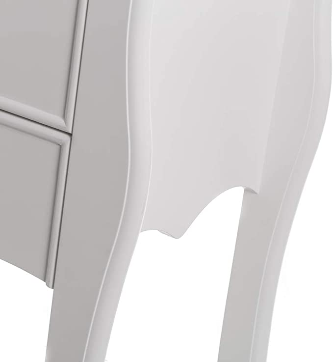 Mesita de Noche cabriol/é cl/ásica Blanca de Madera MDF LOLAhome de 48x35x61 cm