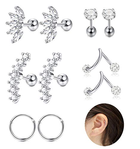 JOERICA 3 Pairs Stainless Steel Silver Ear Cartilage Earrings for Women Girls Tragus Helix Earring Cute Conch Flat Back Piercing Jewelry 16G (C:5 Pairs)