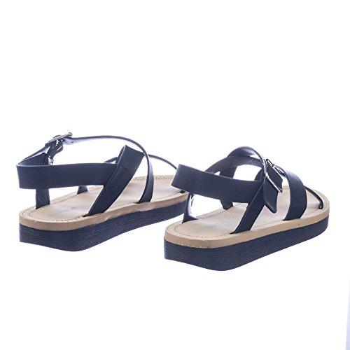 Black Footbed Comfort Bamboo Criss Flat Sandal Soft Bamboo Cross Foam Gladiator HYfwv