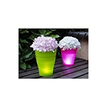 Solar Illuminated Planter (Pink) Led Lighted Solar Flower Pot Lamp Urn Decorative Garden Led Plant Pot Modern Planter Vase