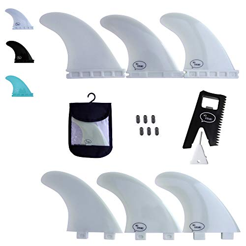 Ho Stevie! Fiberglass Reinforced Polymer Surfboard Fins - Thruster (3 Fins) FCS or Futures Sizes, Choose Color (White, Futures) (Best Surf Fins For Small Waves)
