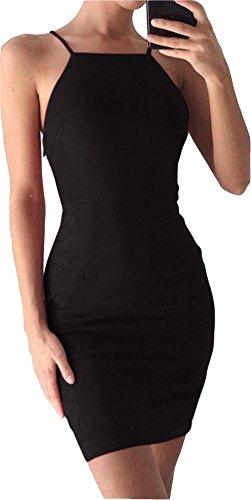 [Bodycon Dress Velvet, Womens Cute Spaghetti Strap Petite Sexy Party Dresses Black 40] (Straps Neckline Mini)
