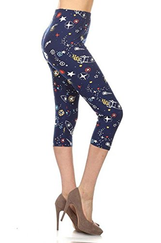R972-CA-OS Rocket Space Capri Print Leggings